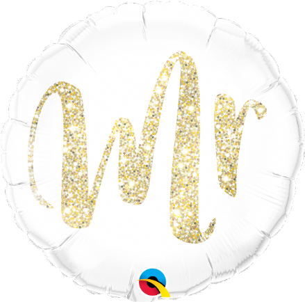 Gold Glitter 'Mr' Foil Helium Balloon
